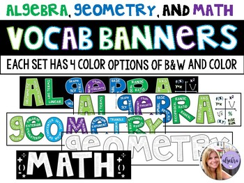Algebra, Geometry, Math - Banner Bulletin Board Word Wall