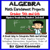 Algebra Projects For Upper Elementary + Vocabulary Handout