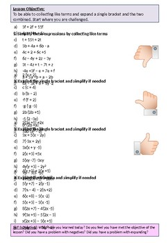 Algebra: Differentiated Worksheet on Collecting Like Terms including Expanding