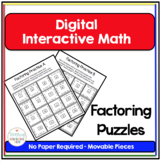 Algebra Digital Interactive Math Factoring Puzzles