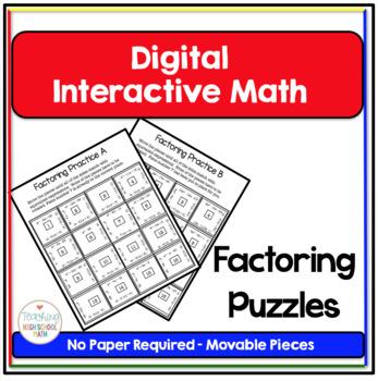 Algebra Digital Interactive Math Factoring Puzzles