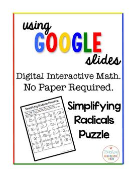 Algebra Digital Interactive Math Simplifying Radicals Puzzle