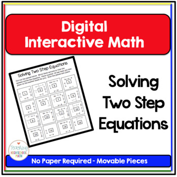 Algebra Digital Interactive Math Solving Two Step Equations Puzzle
