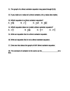 Algebra - Direct Variation