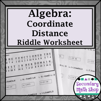 Distance Formula Practice Riddle Worksheet