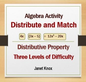 Distributive Property, Algebra Activity, Three Levels