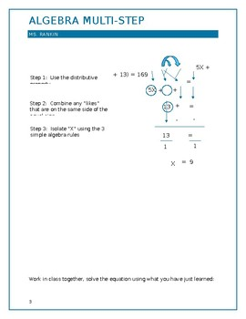 Algebra Distributive Property week 3 of 8 week course