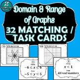 TASK CARDS / MATCHING ACTIVITY - Algebra - Domain & Range of Graphs