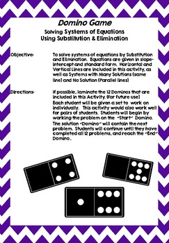 Algebra Domino Activity for Solving Systems of Equations