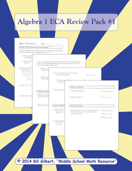 Algebra ECA Review 1 | End of Course Assessment Review Pack for Algebra 1