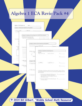 Algebra ECA Review 4 | End of Course Assessment Review Pack for Algebra 1