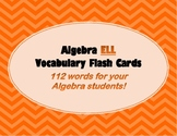 Algebra ELL Flash Cards for High School Students