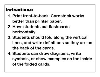 Algebra ELL Flash Cards for High School Students