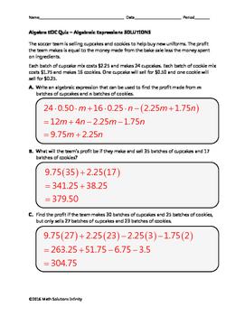 Algebra EOC Quiz - Algebraic Expressions BUNDLE