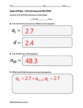 Algebra EOC Quiz - Arithmetic Sequences BUNDLE