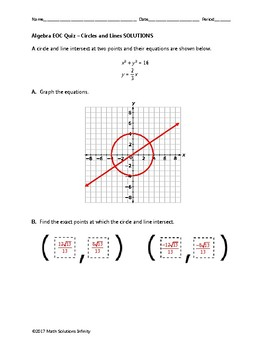 Algebra EOC Quiz - Circles and Lines BUNDLE [FREE FOR A LIMITED TIME]