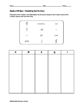 Algebra EOC Quiz - Classifying Real Numbers BUNDLE