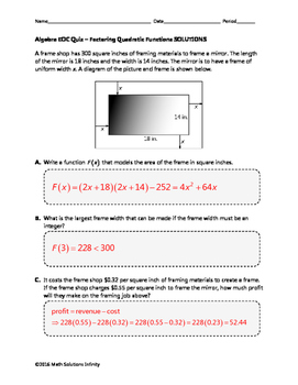 Algebra EOC Quiz - Modeling Quadratic Functions BUNDLE