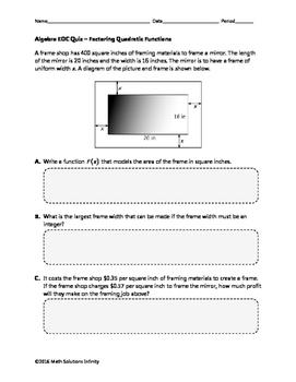 Algebra EOC Quiz - Modeling Quadratic Functions BUNDLE