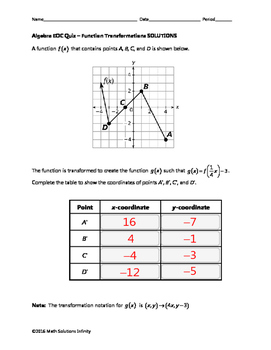 Algebra EOC Quiz - Function Transformations BUNDLE