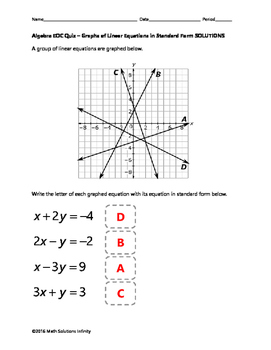 Algebra EOC Quiz - Graphs of Linear Equations in Standard Form BUNDLE