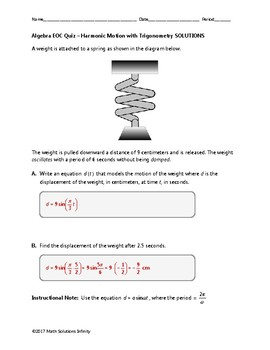 Algebra EOC Quiz - Harmonic Motion with Trig BUNDLE [FREE FOR A LIMITED TIME]