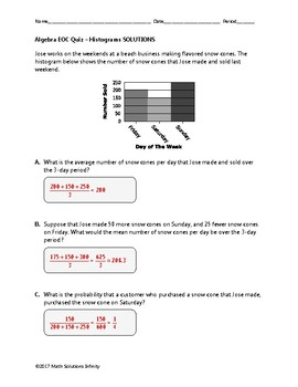 Algebra EOC Quiz - Histograms BUNDLE [FREE FOR A LIMITED TIME]