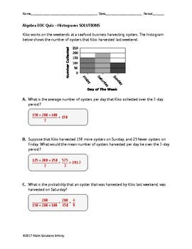 Algebra EOC Quiz - Histograms BUNDLE