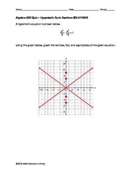 Algebra EOC Quiz - Hyperbolic Conic Sections BUNDLE