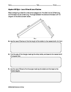 Algebra EOC Quiz - Law of Sines & Law of Cosines BUNDLE
