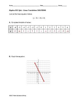 Algebra EOC Quiz - Linear Translations BUNDLE [FREE FOR A LIMITED TIME]