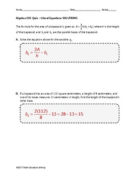 Algebra EOC Quiz - Literal Equations BUNDLE