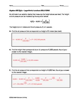 Algebra EOC Quiz - Logarithmic Functions BUNDLE