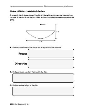 Algebra EOC Quiz - Parabolic Conic Sections BUNDLE