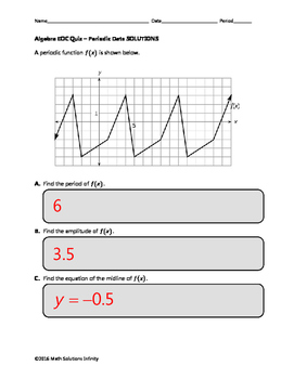 Algebra EOC Quiz - Periodic Data BUNDLE