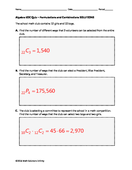 Algebra EOC Quiz - Permutations & Combinations BUNDLE