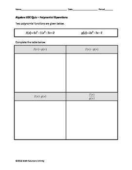 Algebra EOC Quiz - Polynomial Operations BUNDLE