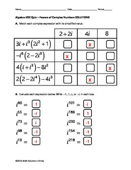 Algebra EOC Quiz - Powers of Complex Numbers BUNDLE