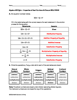 Algebra EOC Quiz - Properties of Real Numbers & Closure BUNDLE