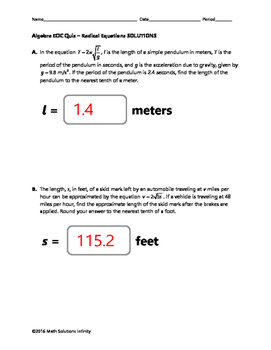 Algebra EOC Quiz - Radical Equations BUNDLE