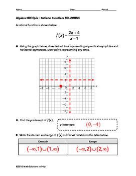 Algebra EOC Quiz - Rational Functions BUNDLE