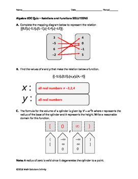 Algebra EOC Quiz - Relations and Functions BUNDLE