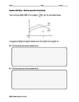 Algebra EOC Quiz - Solving Equations Graphically BUNDLE