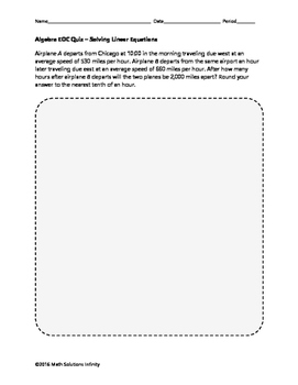 Algebra EOC Quiz - Solving Linear Equations BUNDLE