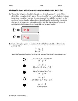 Algebra EOC Quiz - Solving Systems of Equations Algebraically BUNDLE