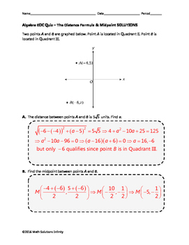 Algebra EOC Quiz - The Distance Formula & Midpoint BUNDLE