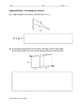 Algebra EOC Quiz - The Pythagorean Theorem BUNDLE