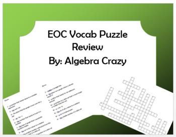 Algebra EOC Vocabulary Review Puzzle