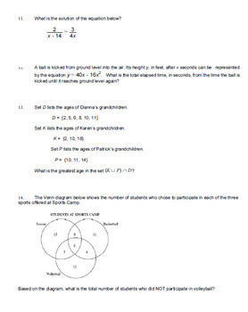 Algebra EOC Practice Innovative Questions