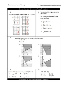 Algebra End of Course Review